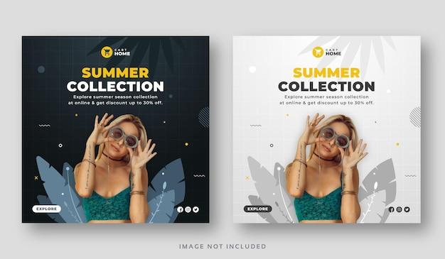 Summer season sale social media post set banner
