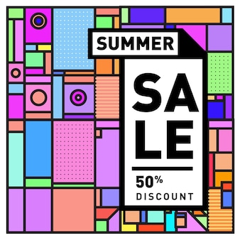 Summer season sale up to 50% poster design template