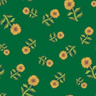 Летний сезон бесшовные модели со случайными оранжевыми контурными элементами подсолнечника. зеленый фон. графический дизайн оберточной бумаги и текстуры ткани. векторные иллюстрации.
