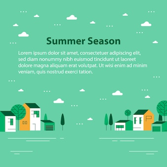 Summer season in small town template