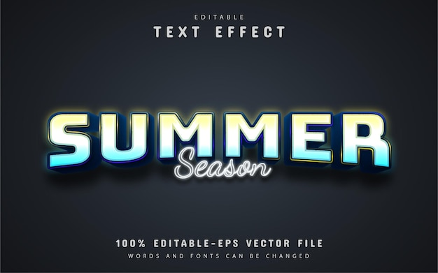 Summer season text, neon style text effect Premium Vector