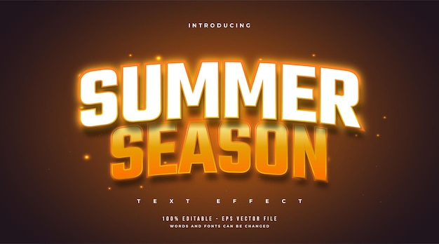 Summer season text in white and orange style with neon effect. editable text effect