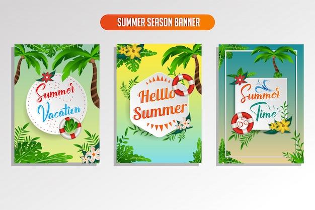 Summer season tropical banner set