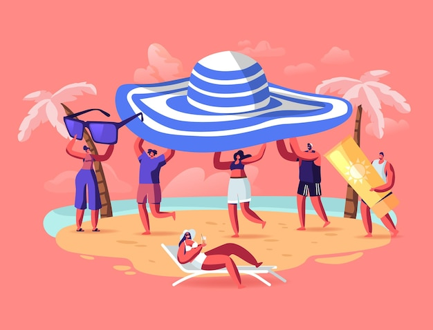 Летний сезон, концепция отпуска. крошечные люди несут огромную тропическую шляпу, наслаждаясь летними каникулами, отдыхая на пляже. персонажи, играющие на берегу моря, загар экзотического курорта. векторные иллюстрации шаржа