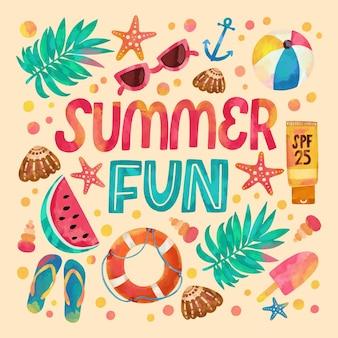 Летний сезон акварель текст и иллюстрации