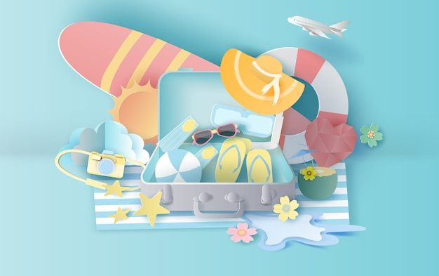 Summer season with suitcase concept