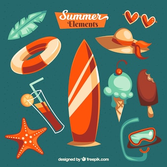 Summer selection of colored items