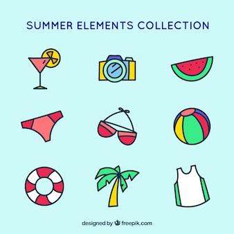 手描きのスタイルの色要素の夏の選択