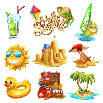 Summer set in 3d style