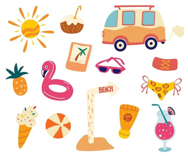Летний комплект, пляжные аксессуары. сборник летних вещей. плоские летние каникулы, пляжный отдых плакат с набором иконок летнего времени. концепция вечеринки у бассейна. векторные иллюстрации шаржа дизайн, модный стиль.