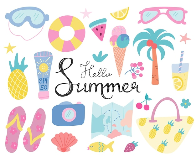 Summer set beach and tourist objects for decoration with hand lettering on a white background