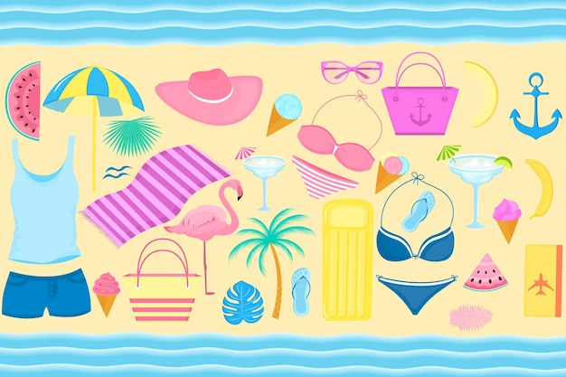 Summer set of decorative items for a beach holiday. swimsuit, flamingo, palm tree, slices of watermelon, glasses, ice cream, inflatable lounge, cocktail, flip flops, t-shirt.