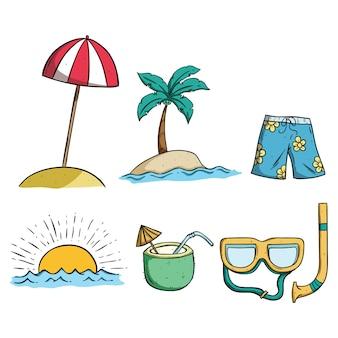 여름 낙서 예술을 사용하여 해변, 코코넛 물과 일몰 아이콘을 설정