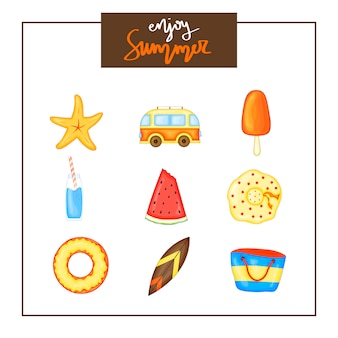 Summer set of items on white background.