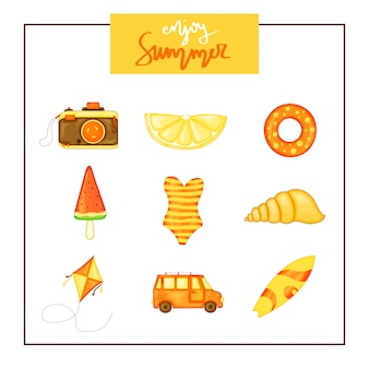 Summer set of items on white