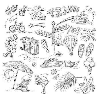 さまざまなオブジェクト、ビーチと海のテーマの夏のセット