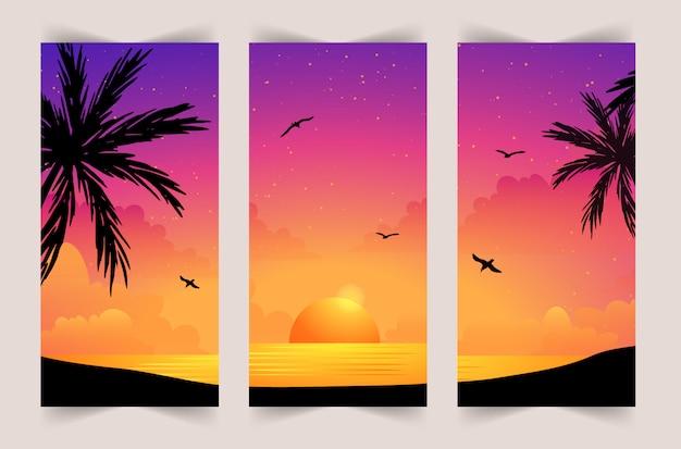 Летний набор мобильных фона. красочный закат на море с пальмами и чайками. шаблон истории.