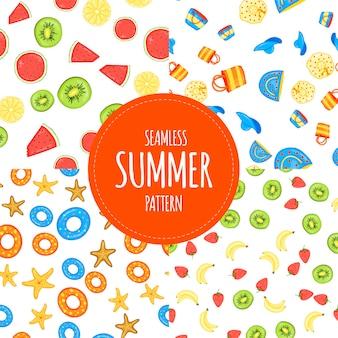 흰색 바탕에 완벽 한 패턴의 여름 세트입니다. 만화 스타일입니다. 벡터.