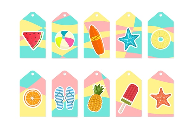 Summer set of sale and gift tags, labels with tropical elements and stickers. modern bright background. vector illustration.