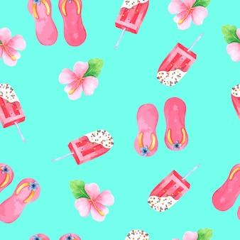 Summer set seamless pattern in watercolor
