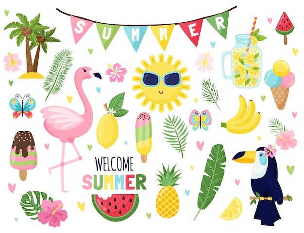 楽しい季節のイラストと夏のセット夏休みの引用