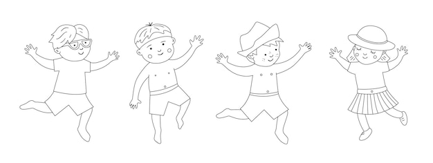 Summer set with children in swimming suits with beach objects. cute black and white happy kids collection. fun sea holidays line. summer coloring page.