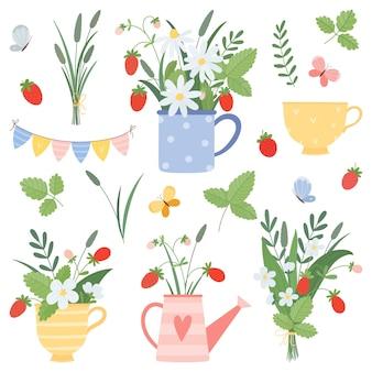 Летний набор из чашек, лейки, букеты, ромашки, клубника, бабочки в плоском мультяшном стиле.