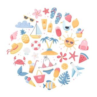 귀여운 해변 요소 비키니, 플립 플롭, 과일, 꽃, 야자수가 있는 여름 세트. 손으로 그린 플랫 만화 요소입니다. 벡터 일러스트 레이 션