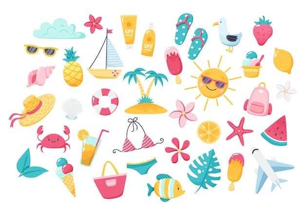 귀여운 해변 요소와 여름 세트 비키니 슬리퍼 과일 꽃 야자수