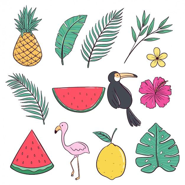 フラミンゴ、パイナップル、スイカがセットされた夏。夏の色の落書きスタイル