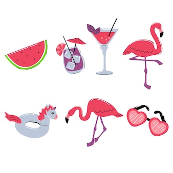 Summer set with flamingos cocktail drinks unicorn rubber ring watermelon and sunglasses