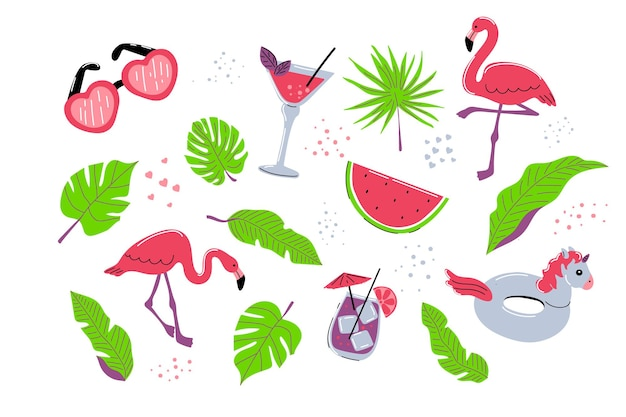 Summer set with flamingos tropical palm leaves cocktail drink unicorn rubber ring and watermelon