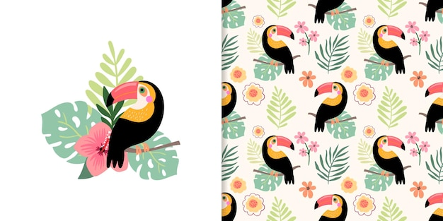 Summer set with tropical seamless pattern and decorative card design