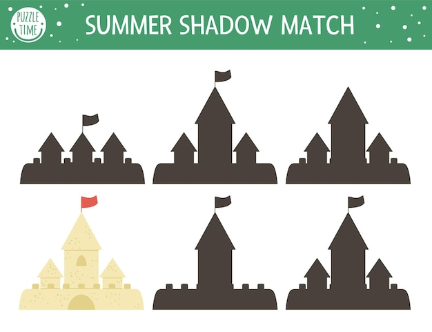 Summer shadow matching activity for children with sandcastle