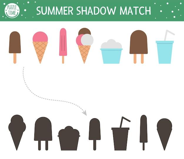 Summer shadow matching activity for children