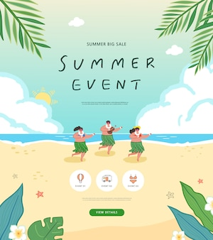 Summer shopping event illustration.