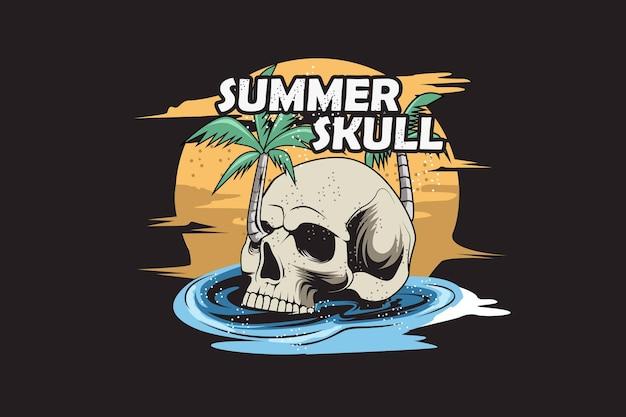 夏の頭蓋骨手描きイラスト