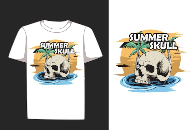 夏の頭蓋骨手描きtシャツ