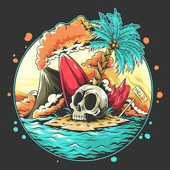 Летняя голова черепа на пляже со сломанной доской для серфинга