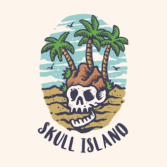 Summer skull island cartoon style t-shirt design