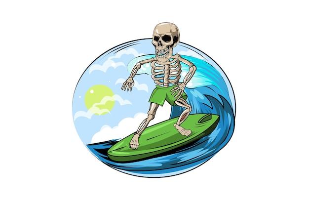 楽園でサーフィン夏の頭蓋骨手描きイラスト
