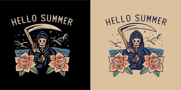 Summer skull tshirt illustration