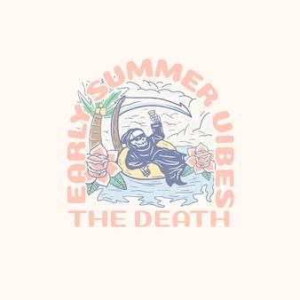 Summer skull vacation illustration for t-shirt