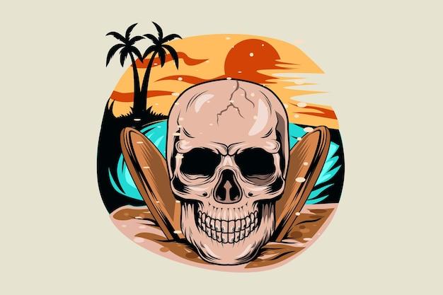Летний череп с видом на закат на пляже