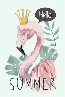 Summer slogan with flamingo and crown