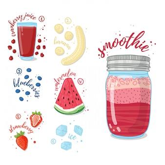 Летний коктейль с клюквенным соком, бананом, арбузом, клубникой и черникой. вегетарианский коктейль в стеклянной банке. рецепт смузи для здорового питания с фруктами и ягодами.