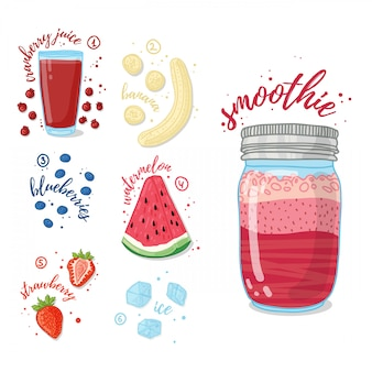 Summer smoothie with cranberry juice, banana, watermelon, strawberries and blueberries. vegetarian cocktail in a glass jar. recipe smoothie for healthy food with fruit and berry.