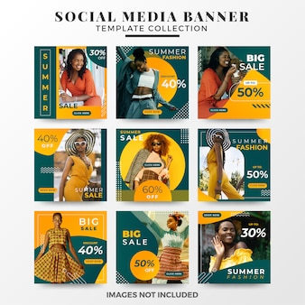 Summer social media banner template collection