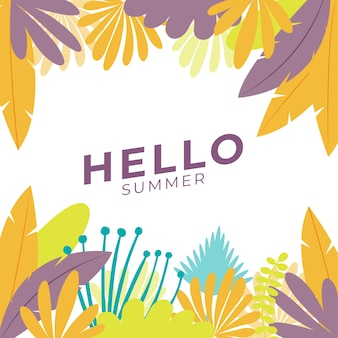 꽃과 열 대 여름 잎 여름 소셜 미디어 배너. 여름 테마의 instagram 게시물 템플릿
