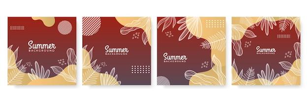 꽃과 열 대 여름 잎 여름 소셜 미디어 배너.